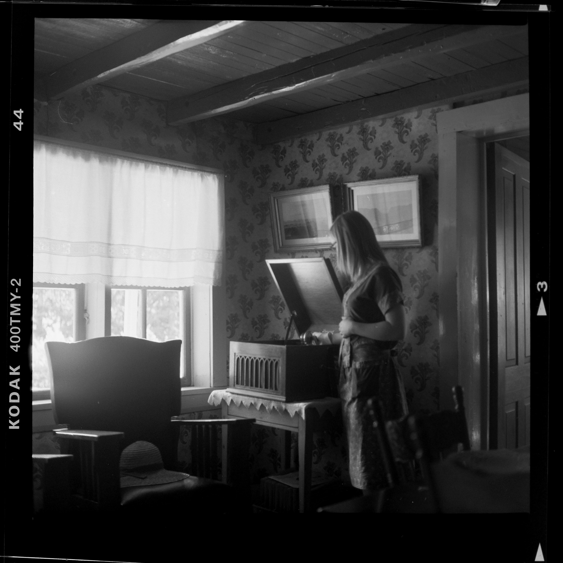 Young Girl with Brunswick Phonograph